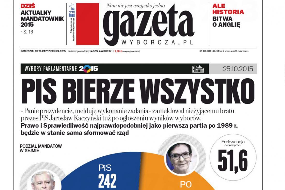 Gazeta Wyborcza k výsledkům polských voleb