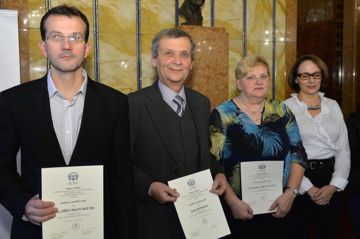Finalisté Ceny Michala Velíška - zleva Jan Rom, Petr Dřevikovský a Květoslava Adamcová