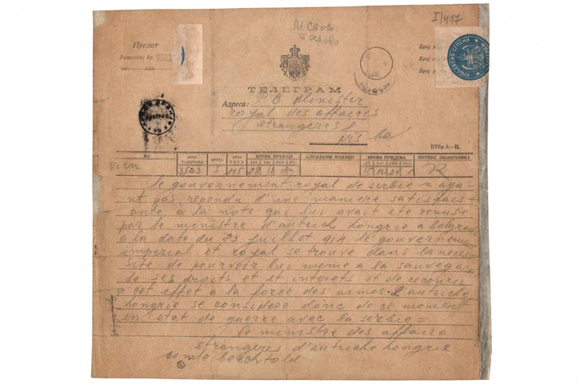Telegram, jímž Rakousko-Uhersko vyhlásilo válku Srbsku