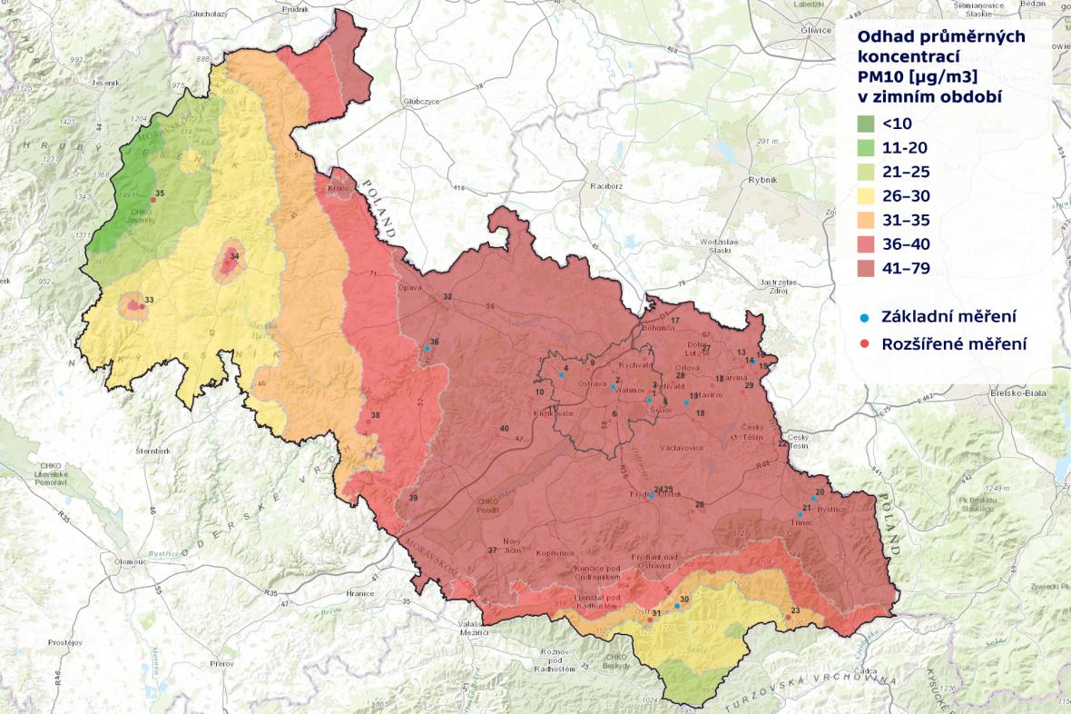 Emisní znečištění v Moravskoslezském kraji v zimě