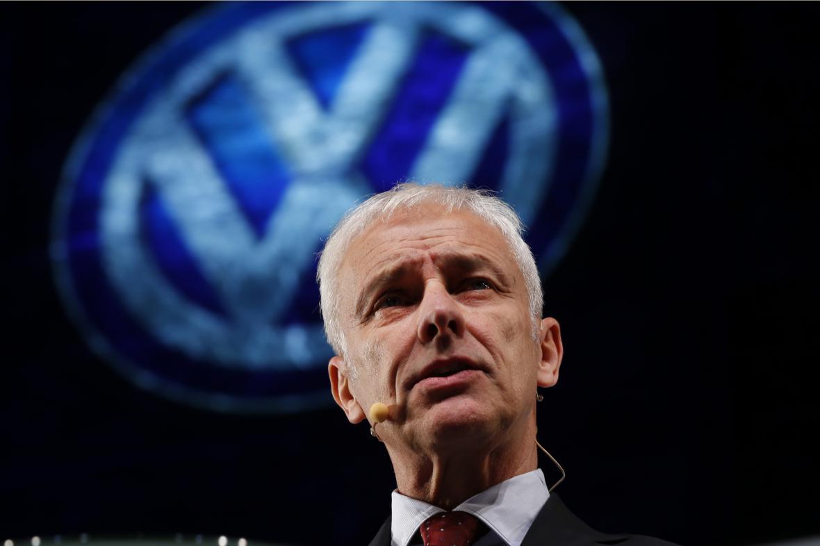 Generální ředitel firmy Volkswagen Matthias Müller na autosalonu v Detroitu