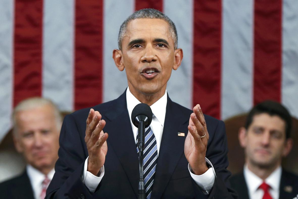Barack Obama během svého posledního poselství o stavu unie