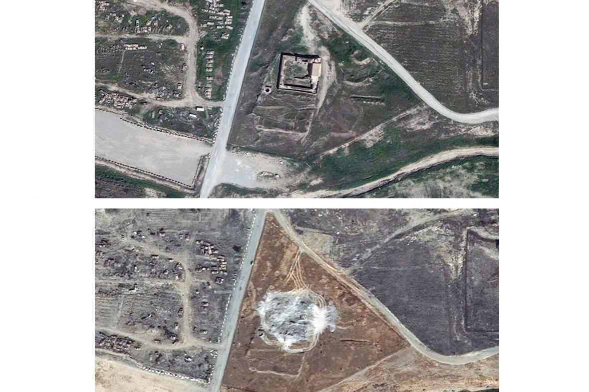 Satelitní snímky zničeného iráckého kláštera svatého Eliáše