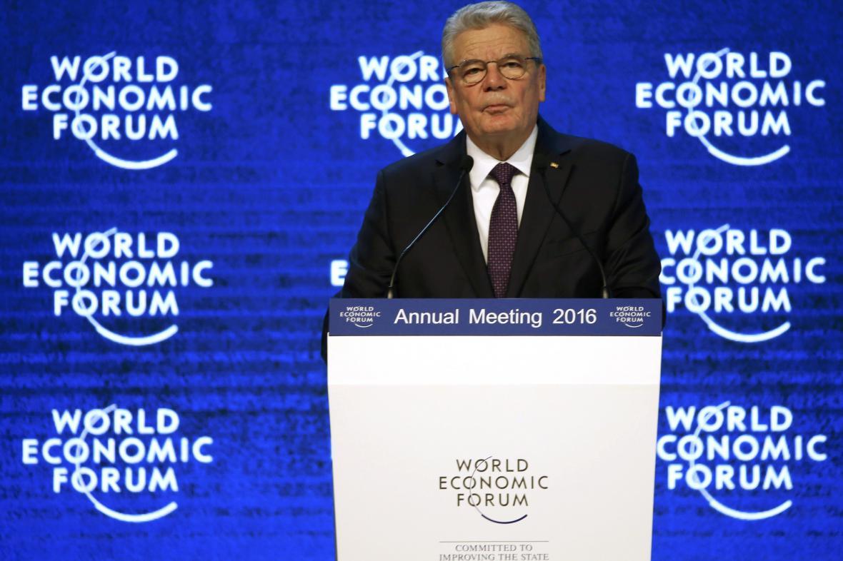 Joachim Gauck na ekonomickém fóru v Davosu