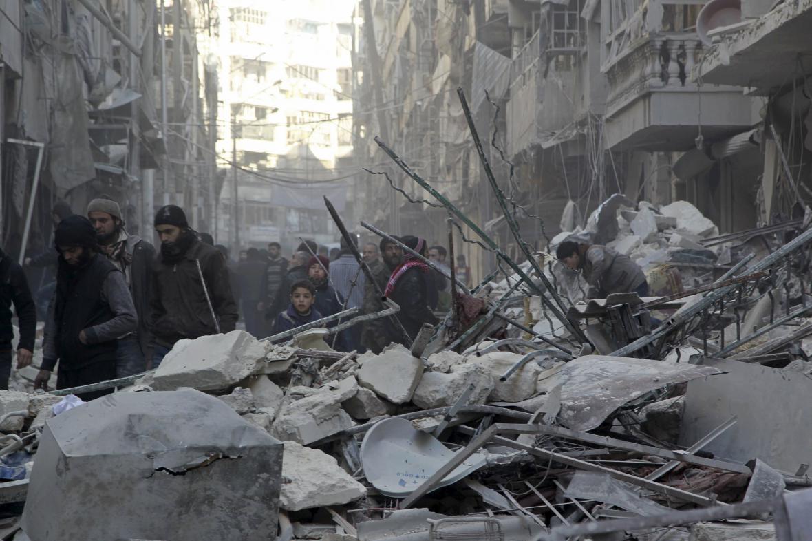 Aleppo po dopadu bomby