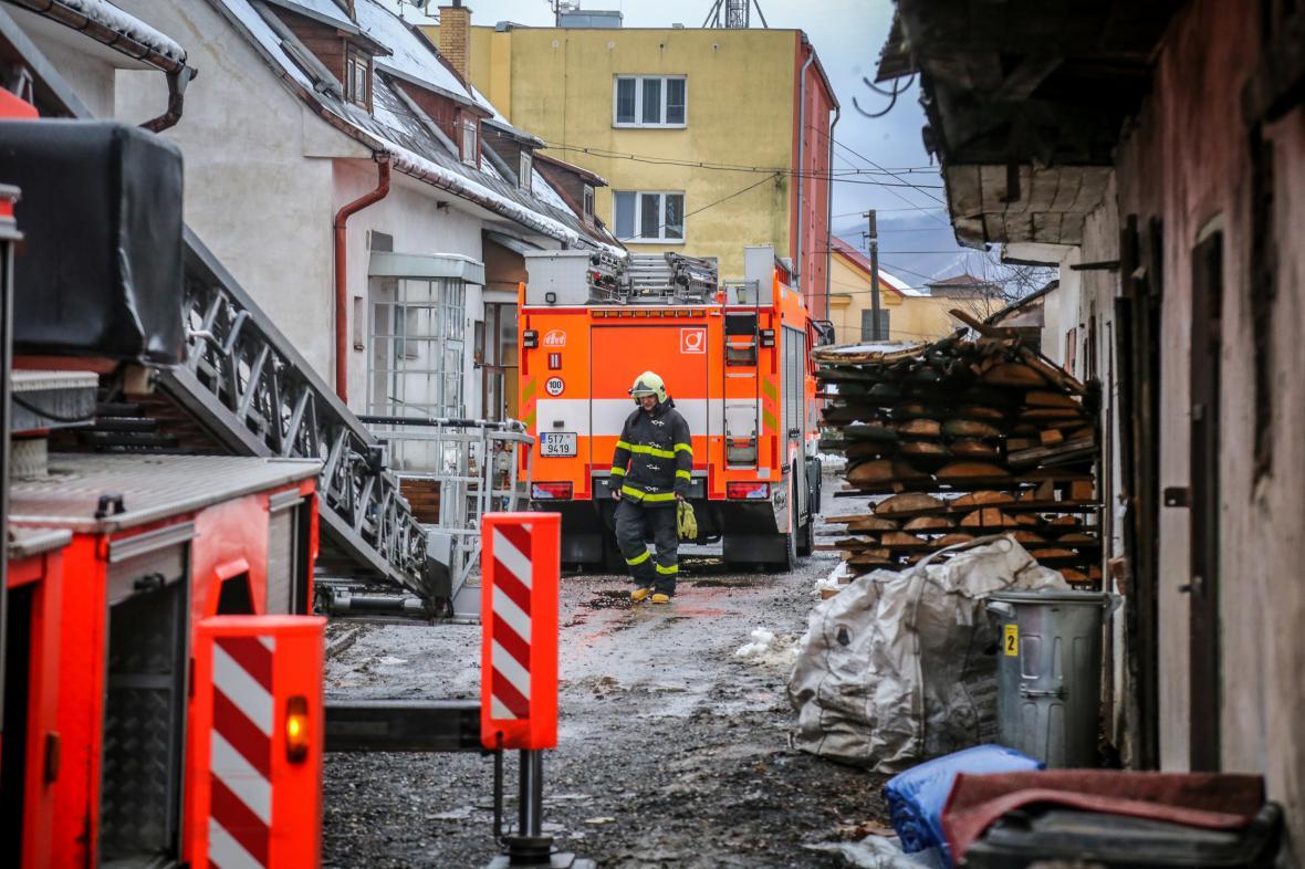 Následky požáru ve Vendryni na Frýdeckomístecku