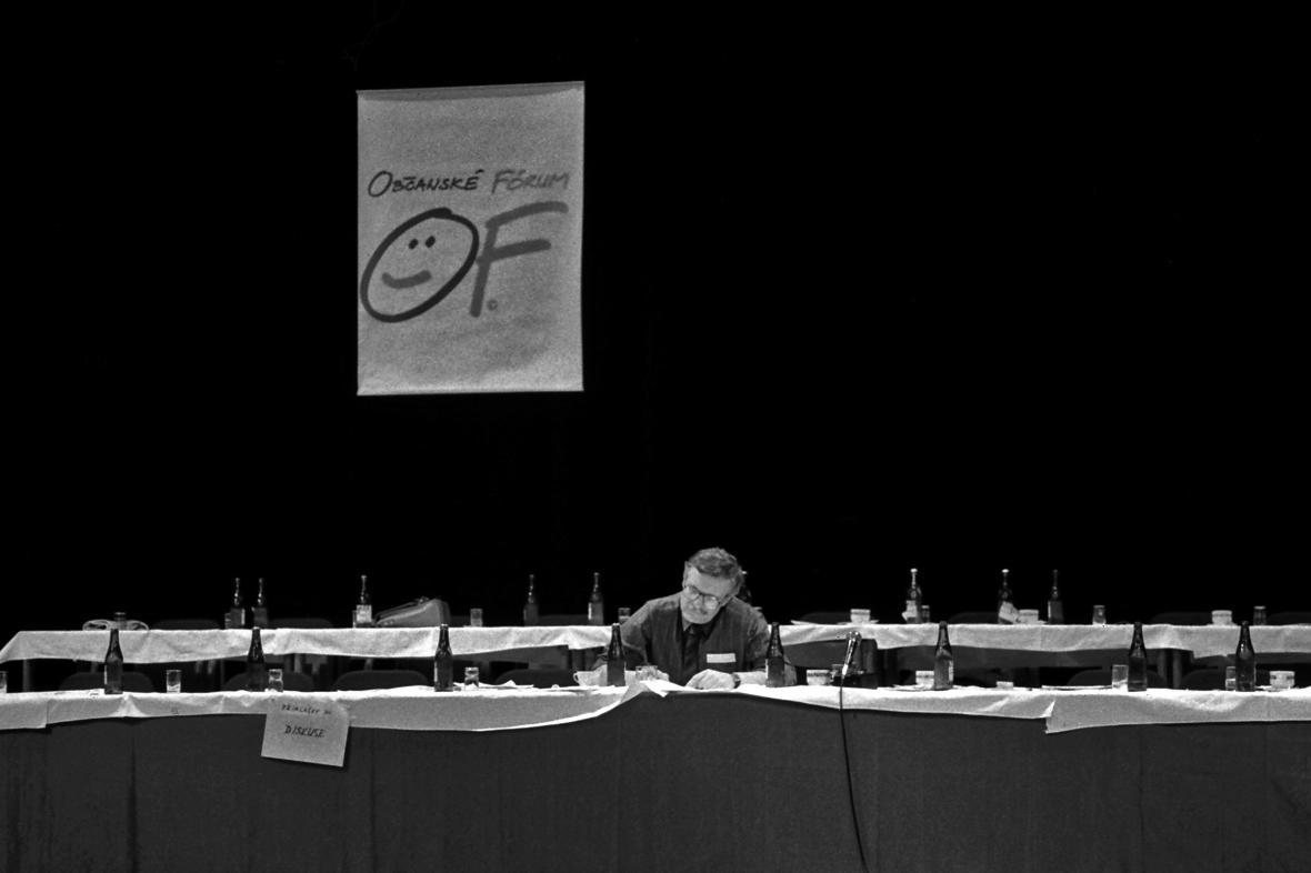 Václav Klaus na sjezdu Občanského fóra