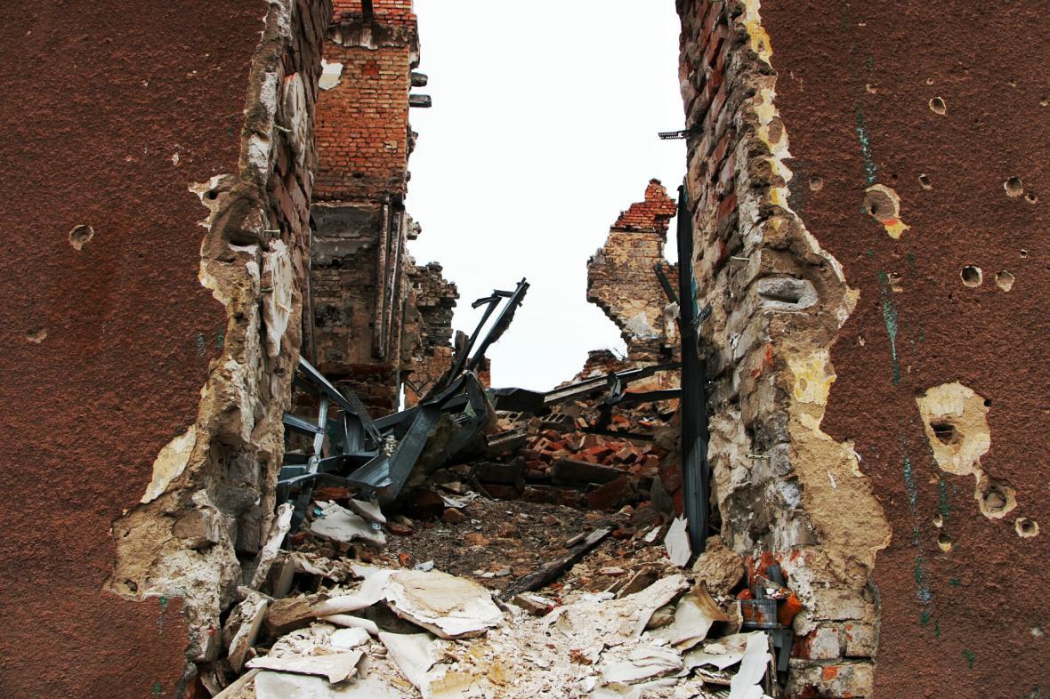 Ukrajinský Slavjansk zničený boji