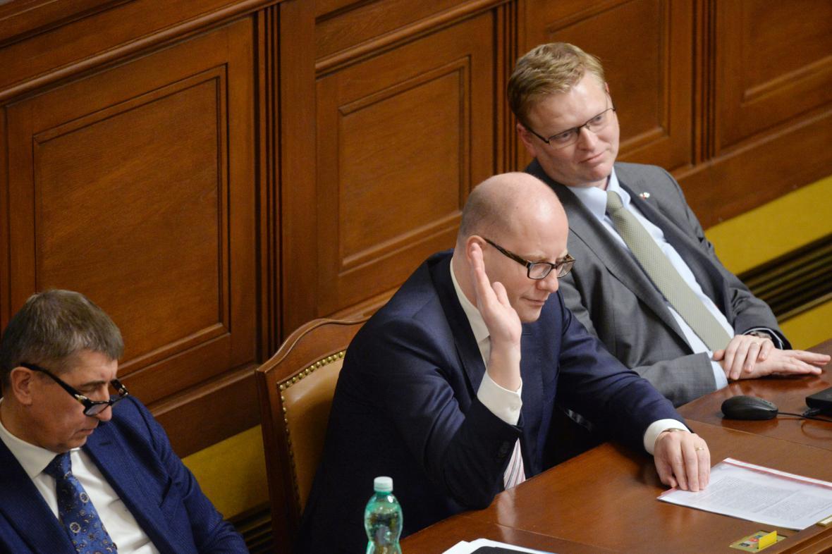 Andrej Babiš, Bohuslav Sobotka a Pavel Bělobrádek