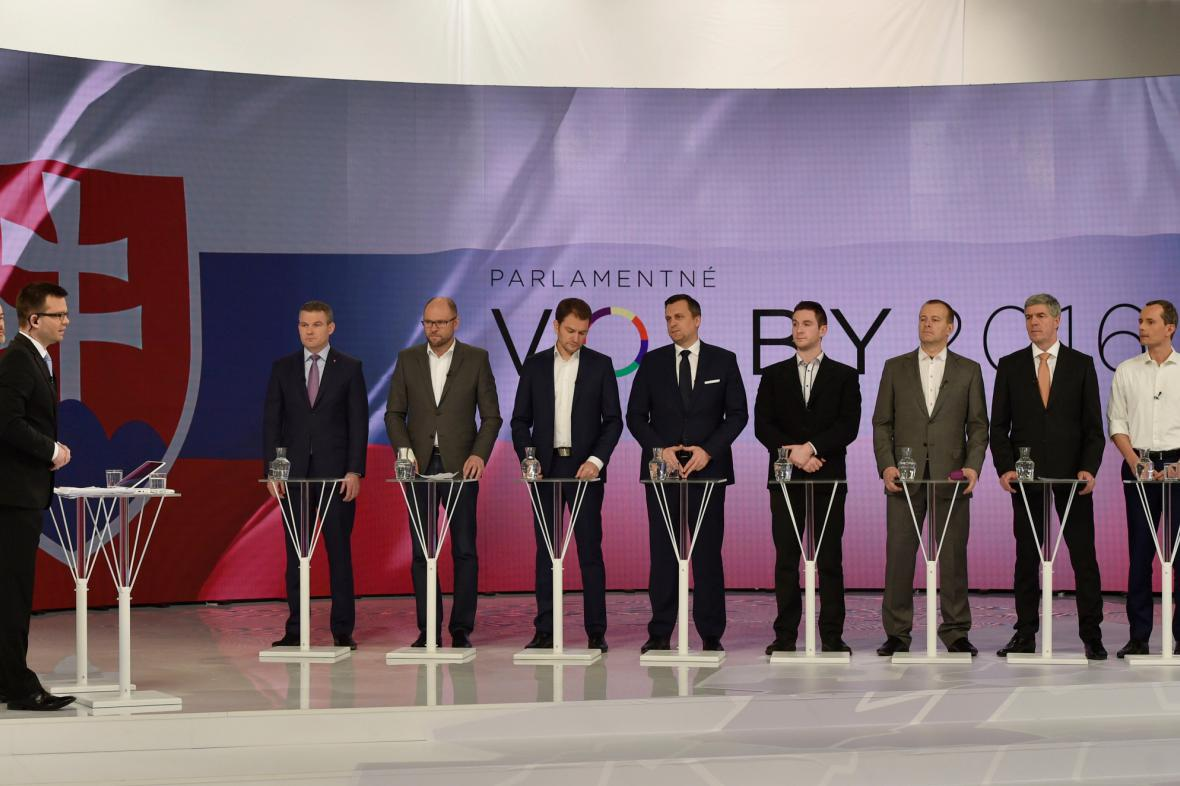 Zástupci nově zvolených parlamentních stran v televizní debatě