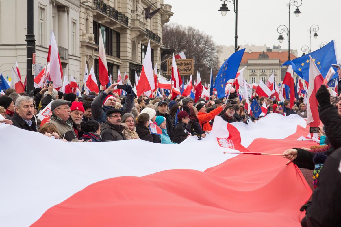 Protivládní demonstrace v Polsku