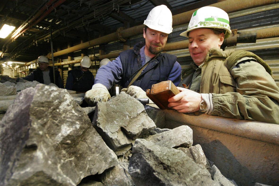 Vytěžená ruda v uranovém dole  Rožná na Žďársku