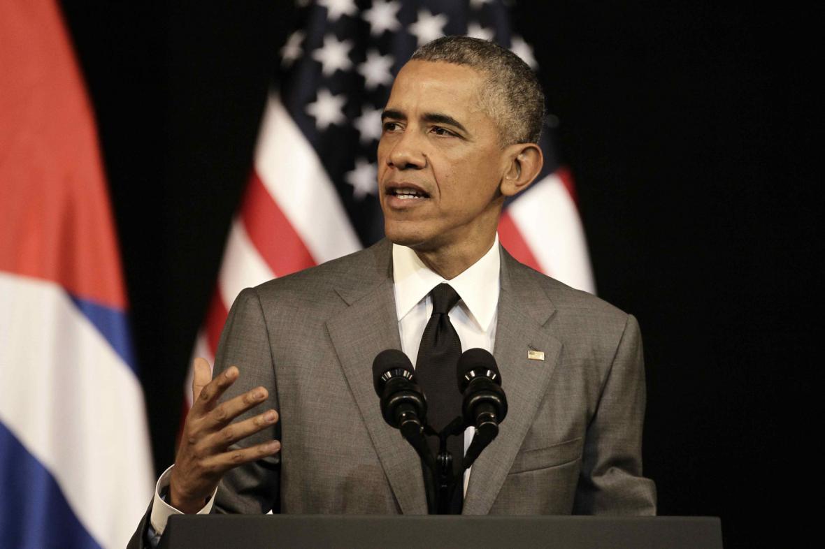 Obama při projevu ke Kubáncům