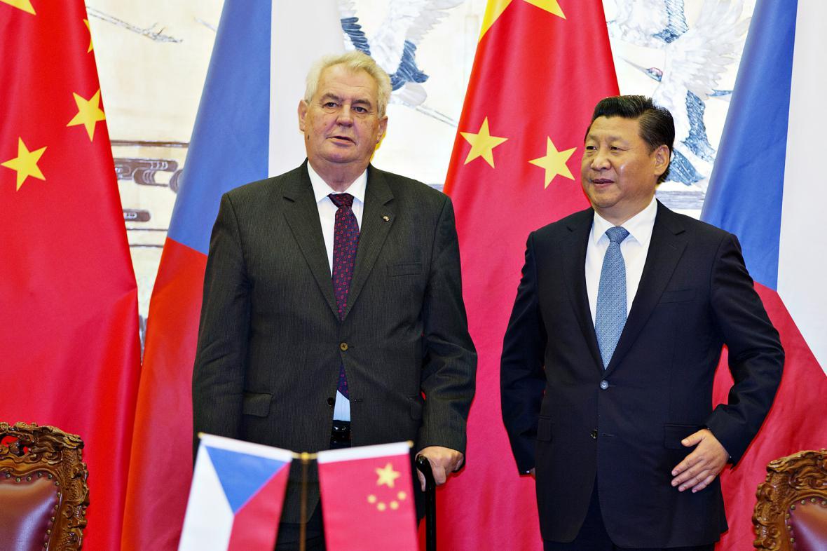 Prezidenti Miloš Zeman a Si Ťin-pching