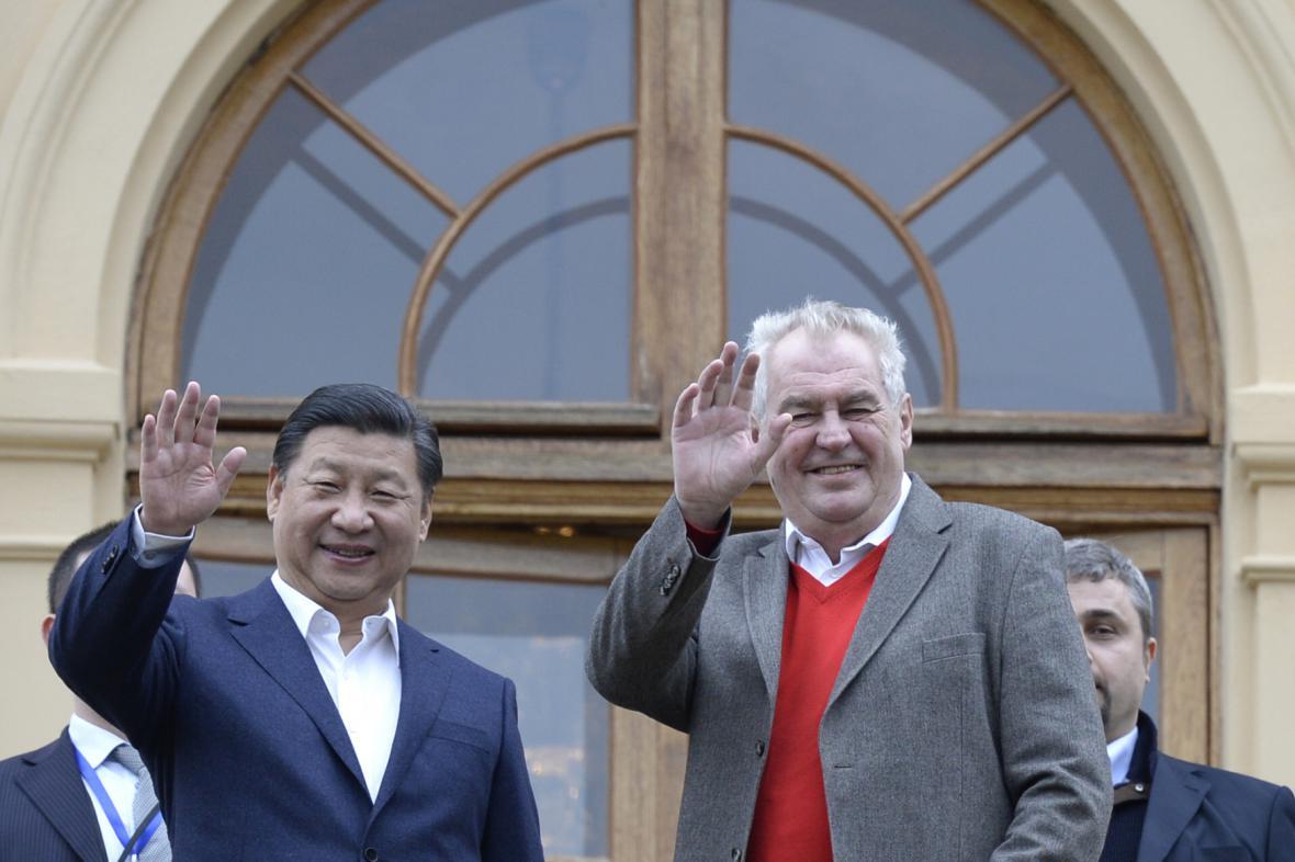 Si Ťin-pching a Miloš Zeman na zámku v Lánech