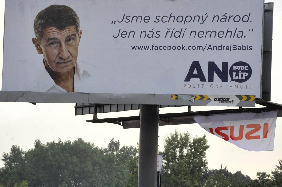 Billboard hnutí ANO v Ostravě z roku 2013