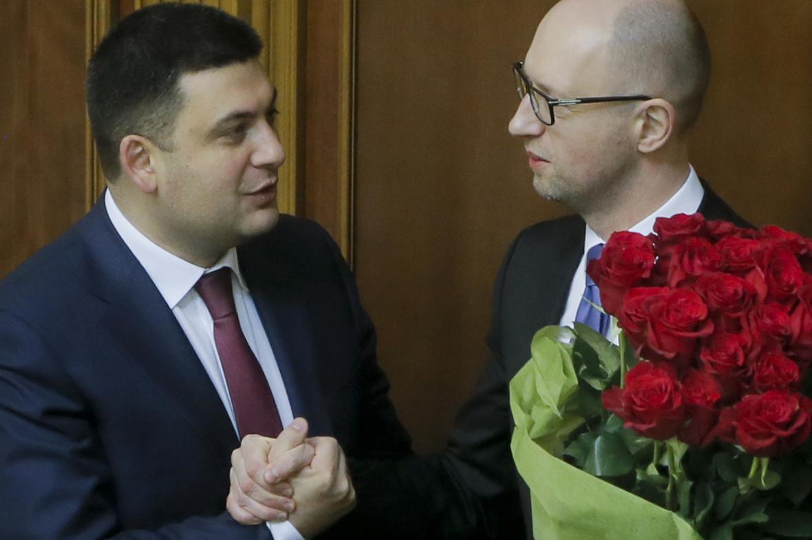 Volodomyr Hrojsman s Arsenijem Jaceňukem