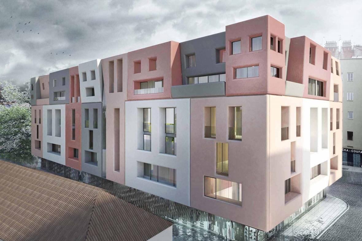 Návrh domu v pražské ulici U Milosrdných zvaný