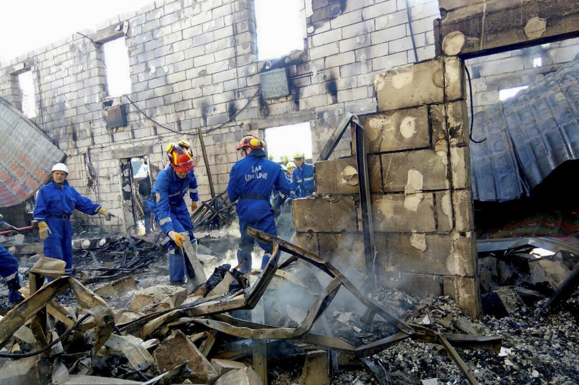 Požár v domově seniorů ve vsi Litočky nedaleko Kyjeva
