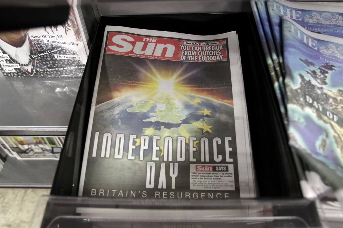 Titulní stránka bulvárního britského deníku The Sun