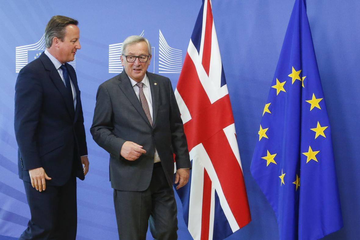 David Cameron (vlevo) a Jean-Claude Juncker v Bruselu