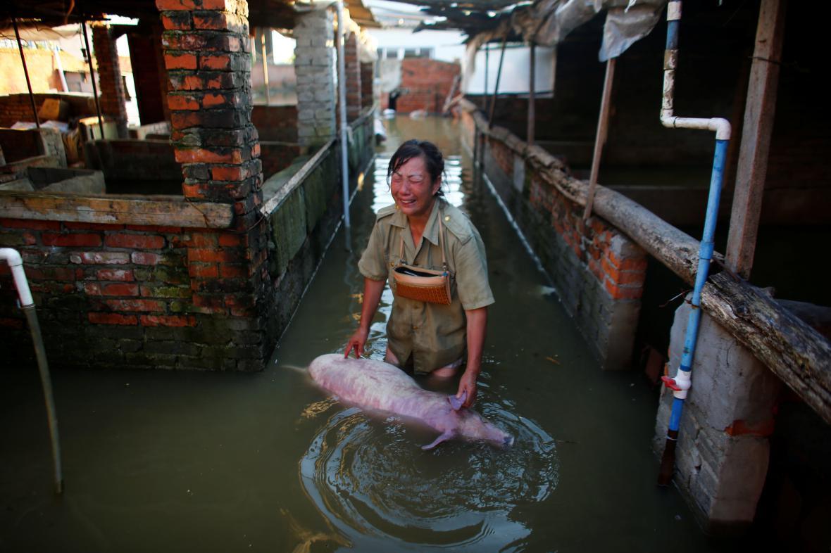 Záplavy v čínském Siao-kanu