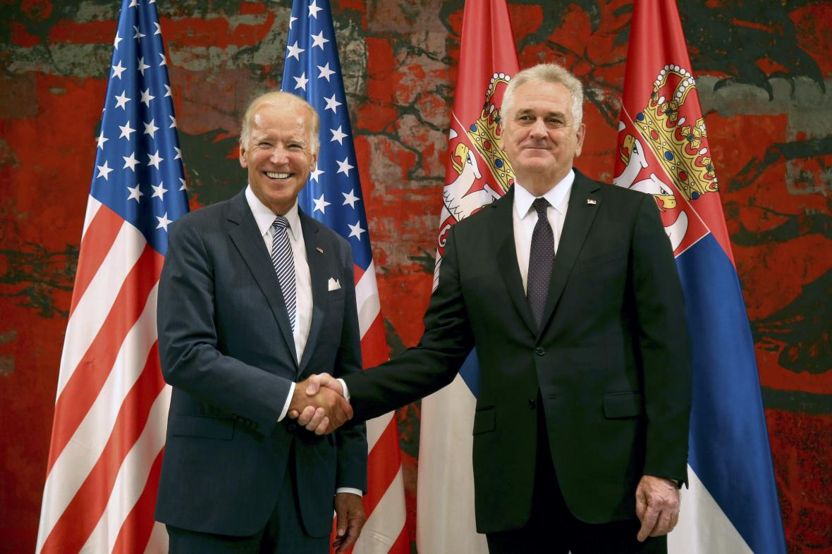 Joe Biden se srbským prezidentem Tomislavem Nikoličem