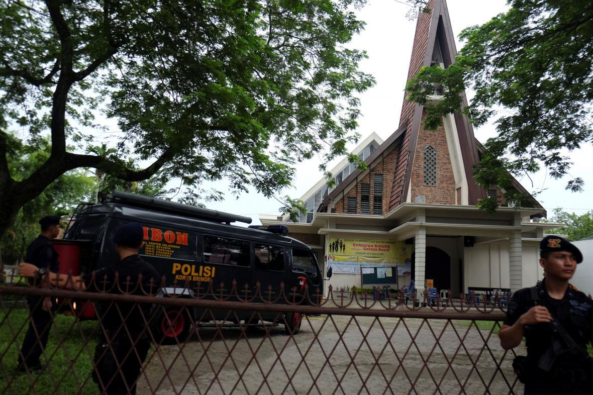 Indonéský kostel, kde došlo k útoku