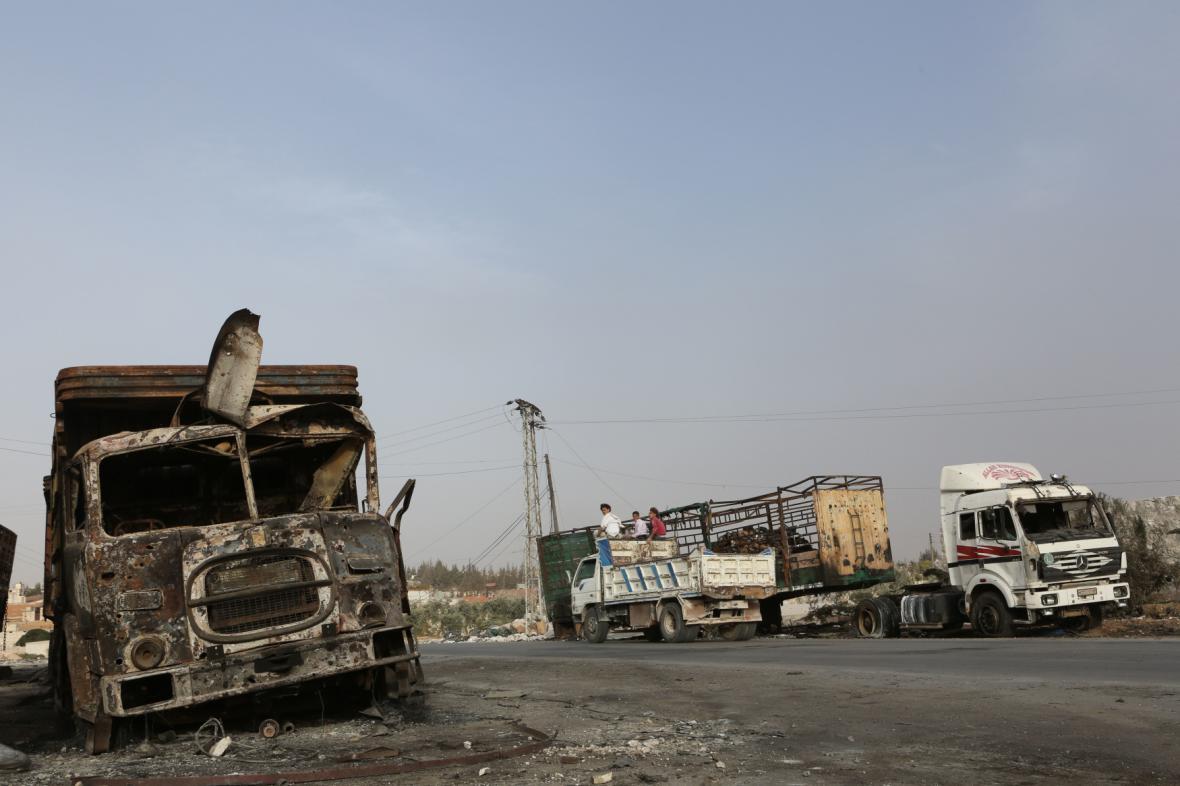 Útok na humanitární konvoj v Sýrii