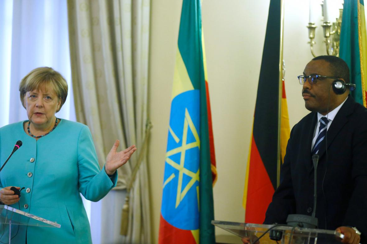 Angela Merkelová s etiopským premiérem