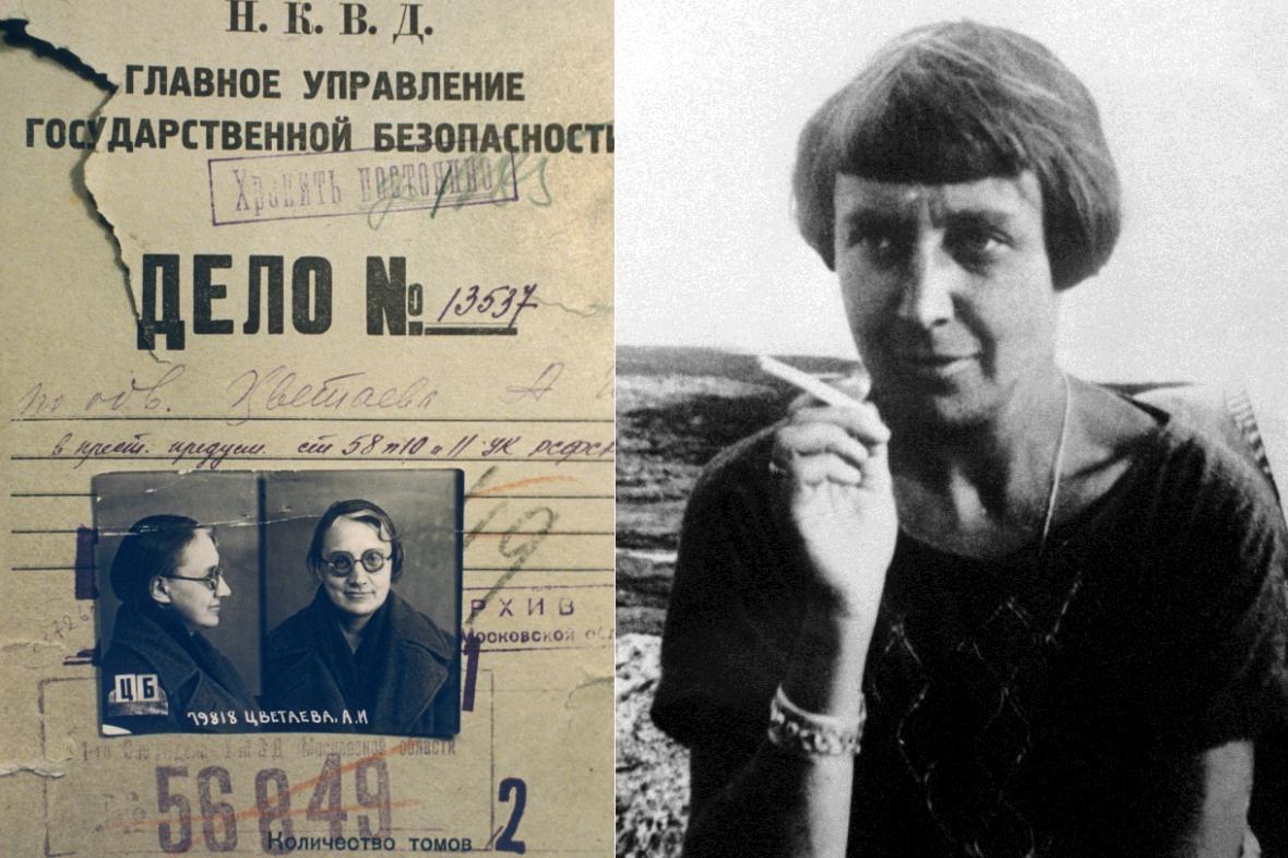 Vlevo: složka NKVD o Marině Cvětajevové, vpravo: básnířka ve Francii (1926)