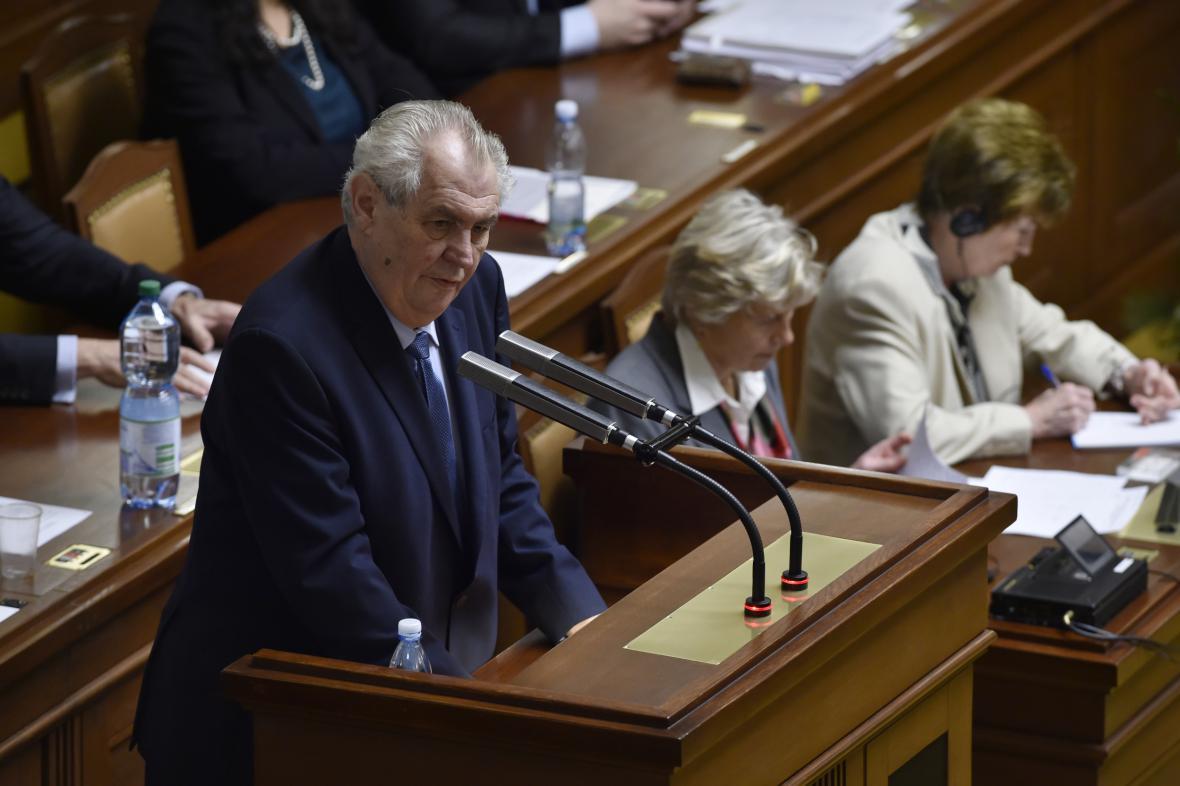 Prezident Miloš Zeman ve sněmovně