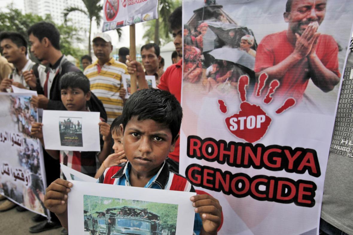 Demonstrace za ukončení násilí na Rohinzích