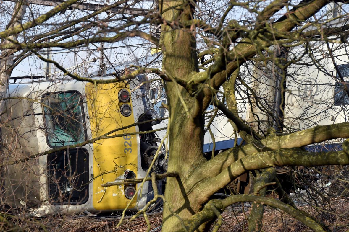 Vykolejený vlak v Belgii