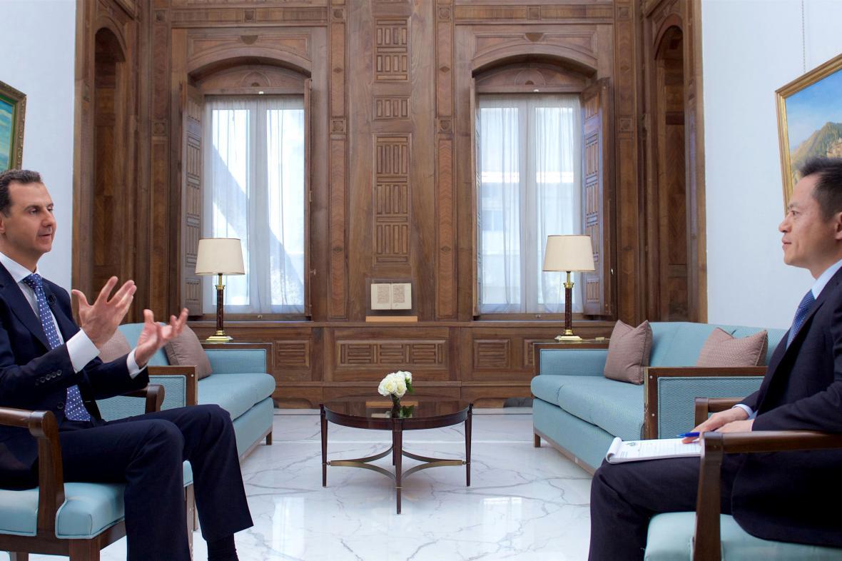 Bašár Asad v rozhovoru pro čínskou televizi