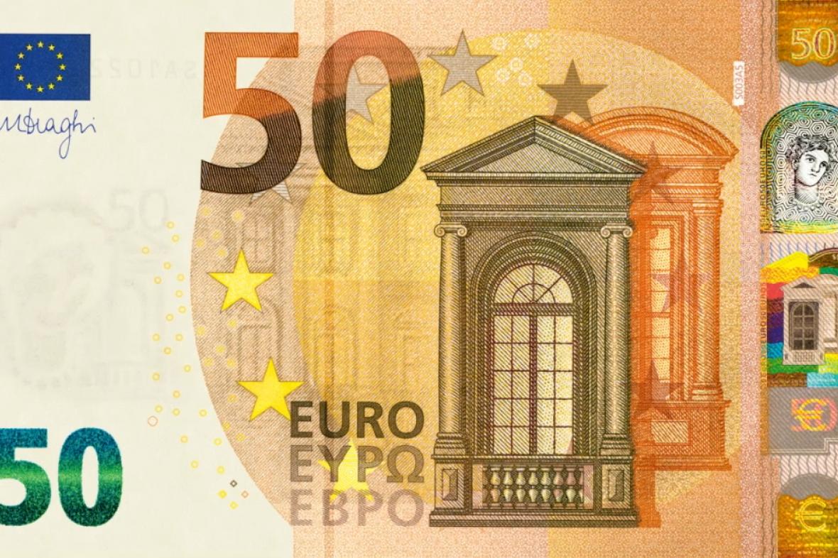 Nová bankovka 50 eur. Přední strana.