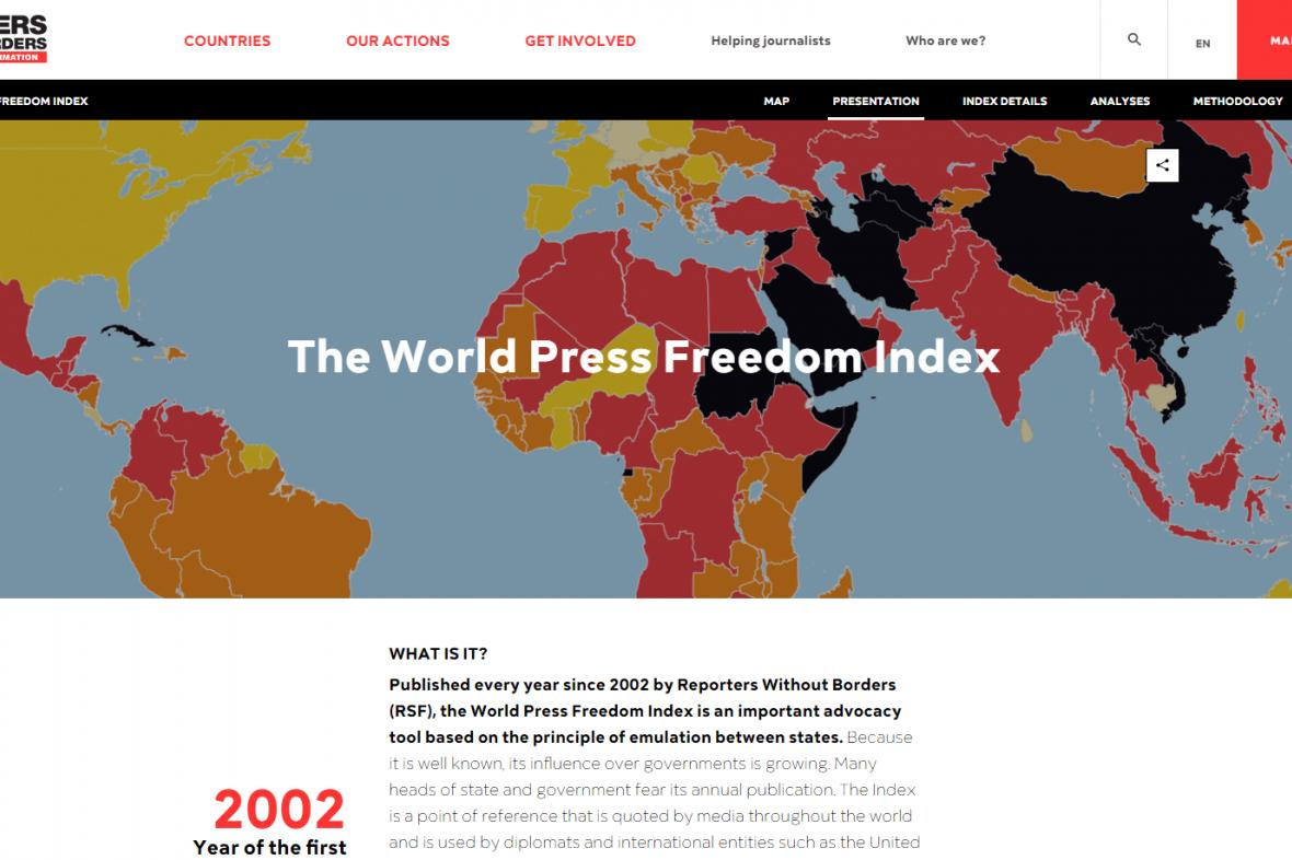 Prezentace žebříčku RSF dle svobody tisku