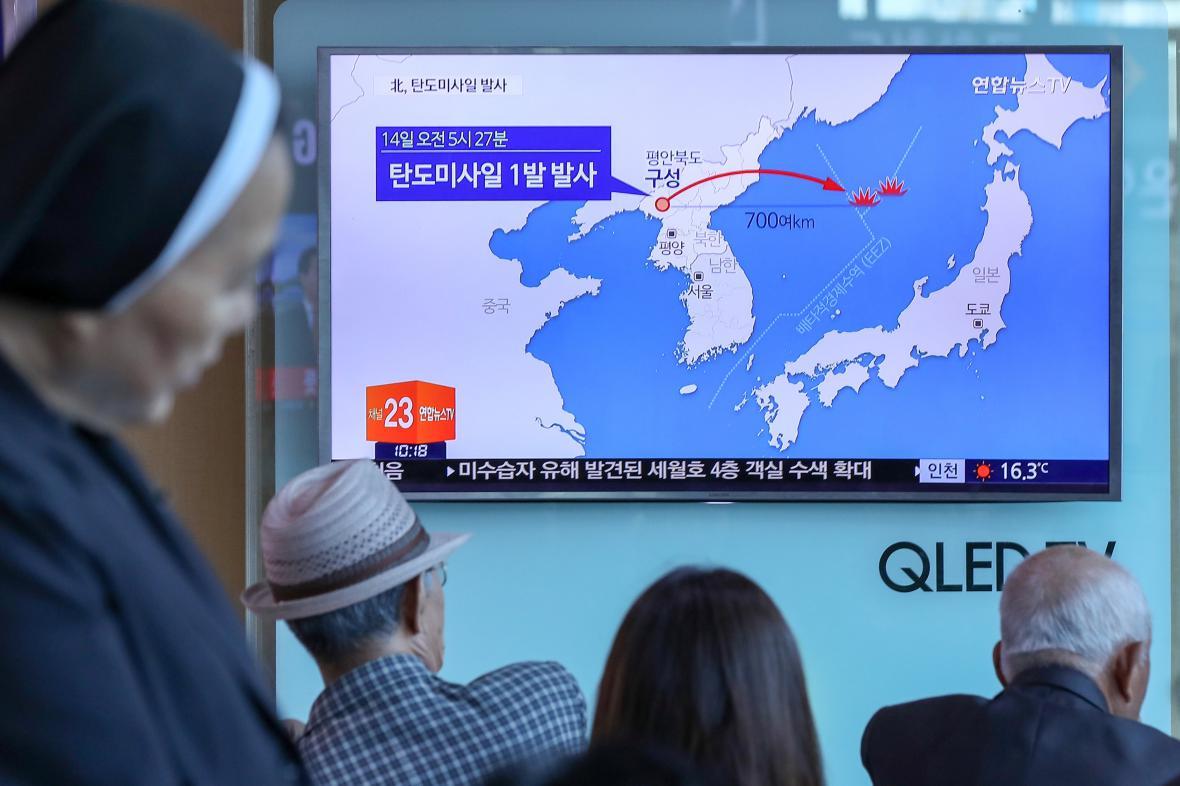 Mapa letu severokorejské střely