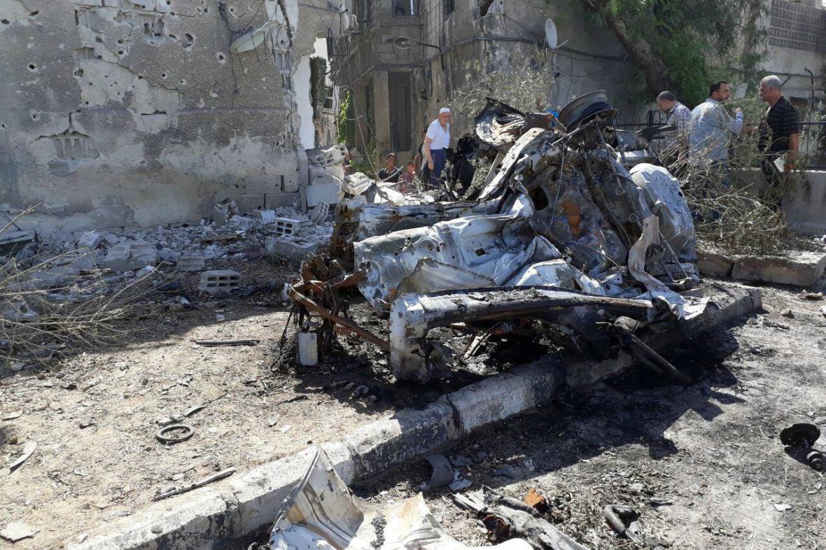 Odpálená nálož v autě v centru Damašku