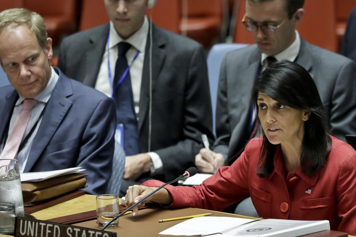 Nikki Haleyová na jednání Rady bezpečnosti OSN o KLDR