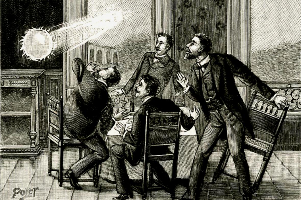 Kulový blesk na zobrazení z 19. století
