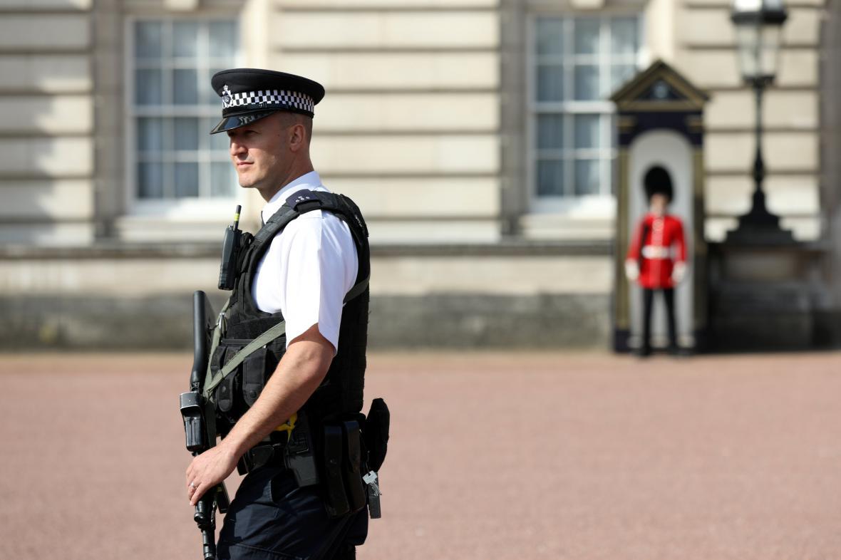 Policie před Buckinghamským palácem