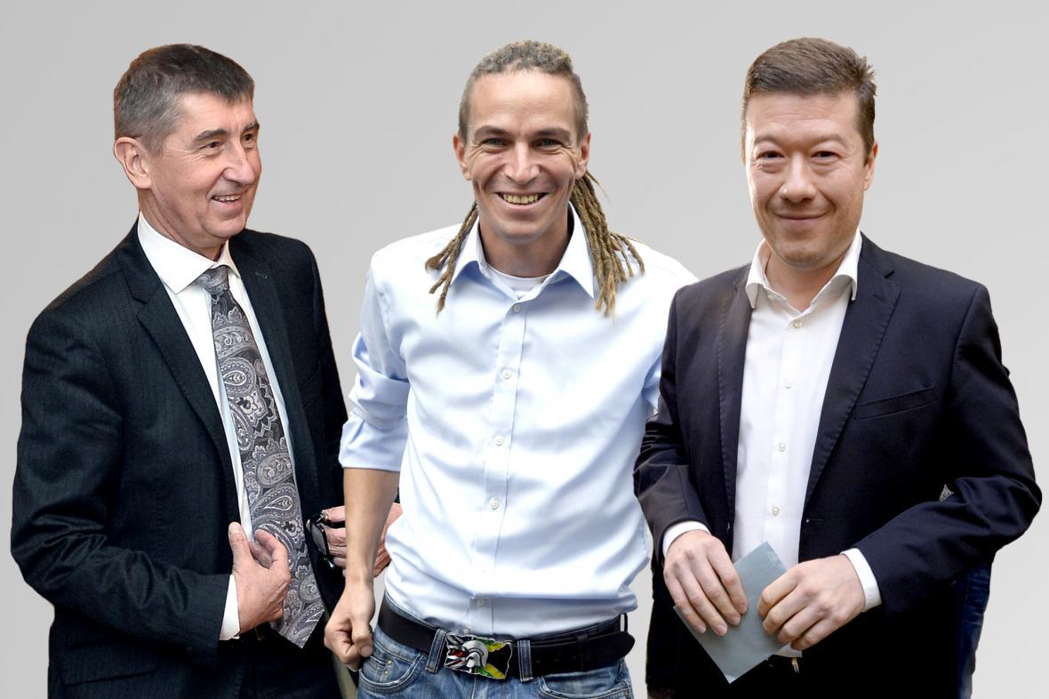 Andrej Babiš, Ivan Bartoš a Tomio Okamura