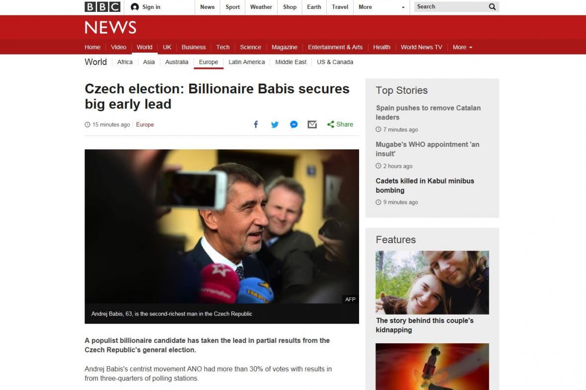 BBC o Babišově výhře