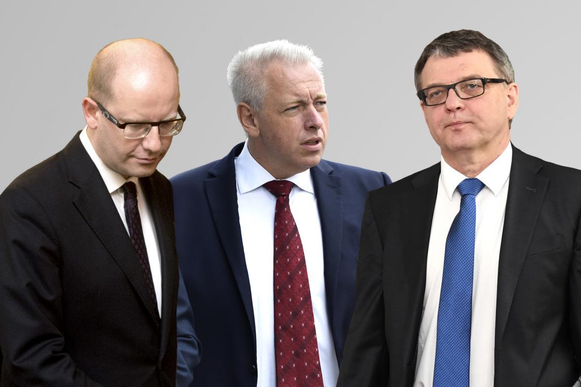 Bohuslav Sobotka, Milan Chovanec a Lubomír Zaorálek