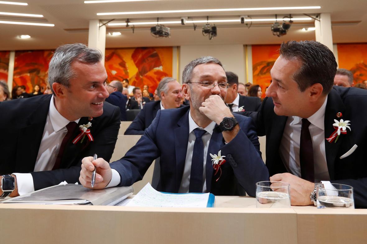 Zástupci Svobodných Hofer, Kickl a Strache