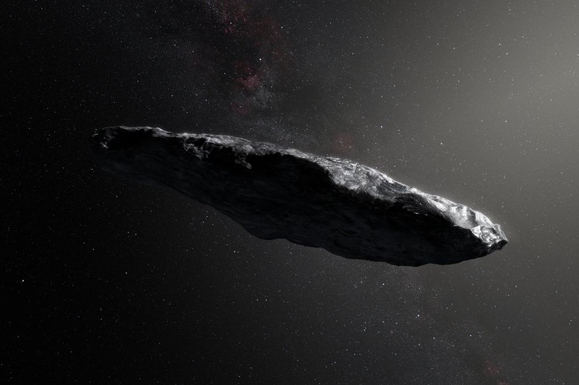 Umělecká představa o podobě asteroidu 'Oumuamua