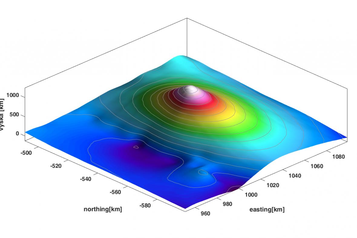 Trojdimenzionální model sopky Dana. Kužel se vypíná do výšky kolem jednoho kilometru  nad úroveň moře.