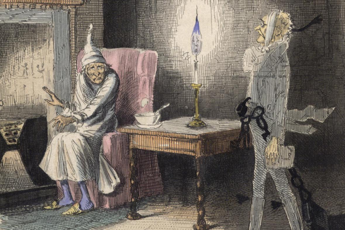 Ilustrace k Vánoční koledě Charlese Dickense