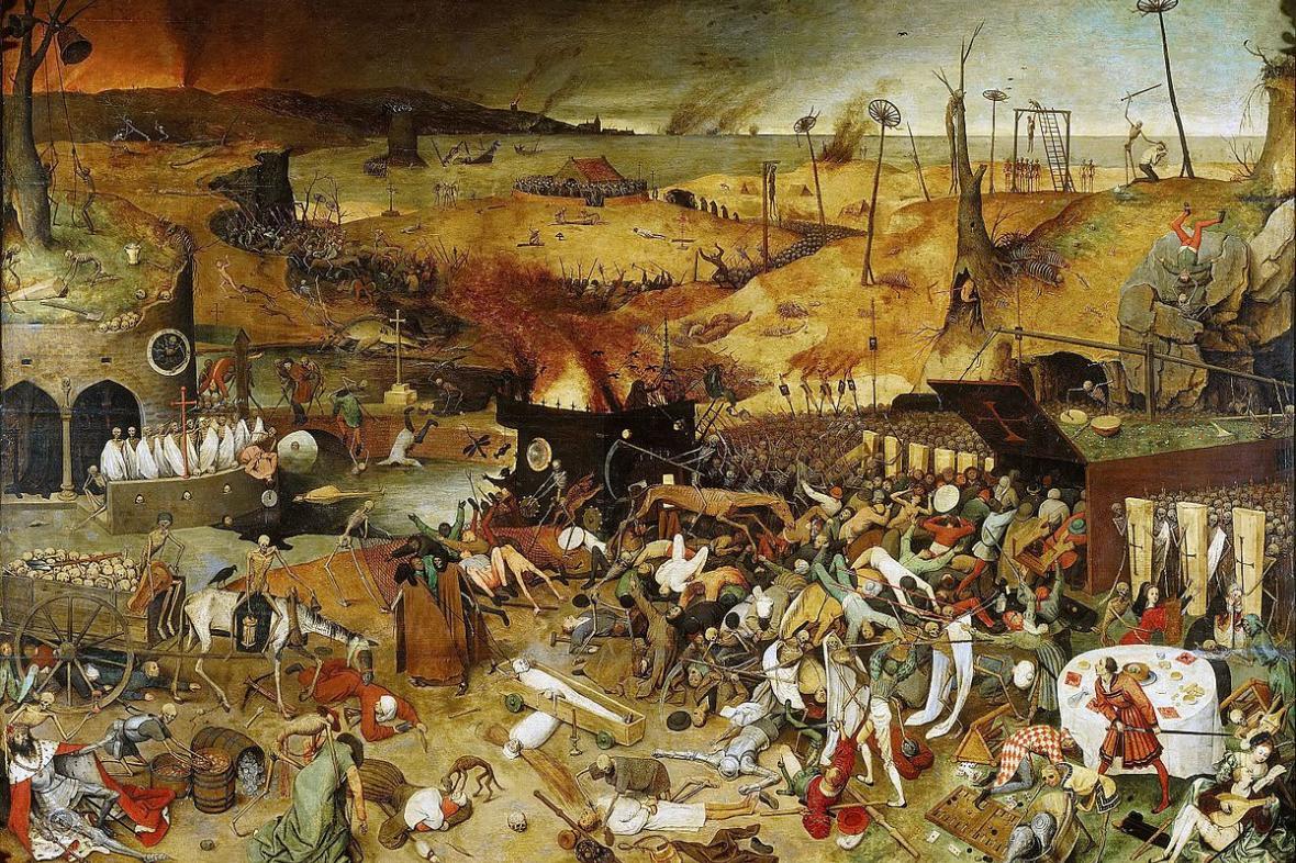Triumf smrti (asi 1562) od Pietera Brueghela je reakcí na časté morové epidemie